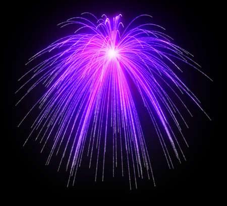 Purple fireworks festivos por la noche sobre fondo negro Foto de archivo