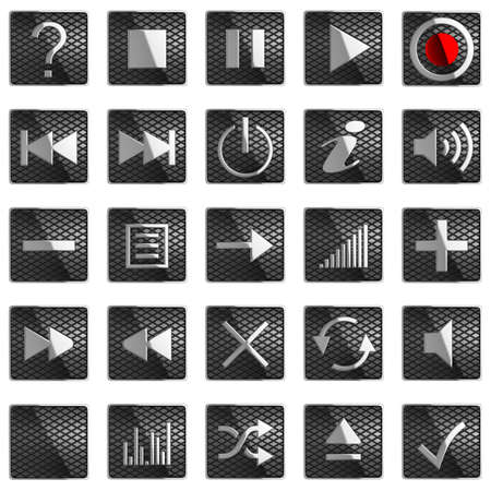 Square Control panel buttons isolated on black photo