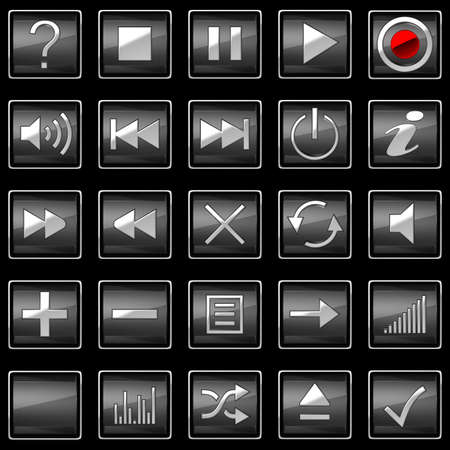 Square pressed Control panel buttons isolated on black photo