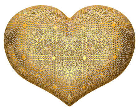 inlaid: Golden heart shape inlaid with diamonds over white background Stock Photo