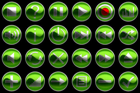 Round green Control panel buttons isolated on black photo