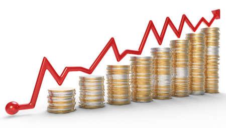 成功: ゴールデン上赤いグラフ コイン スタック白
