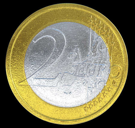 numismatics: 2 Euro coin: European currency on black. Large resolution Stock Photo