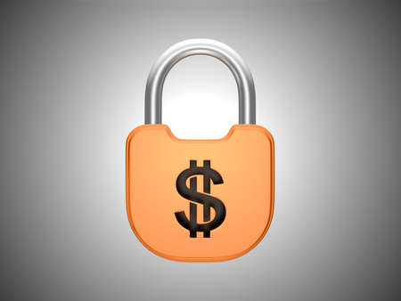 us currency: Locked padlock: US dollar currency concept. Over grey background