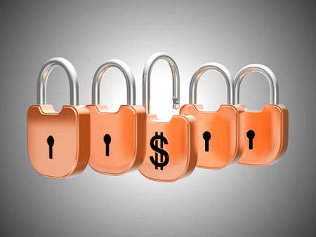 doorlock: Padlocks concept: US dollar currency safety. Over grey Stock Photo