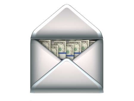 bundle of letters: Remittance and money transfer - US dollars in opened envelope over white