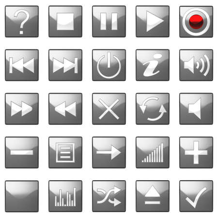Square grey Control panel icons set isolated on black photo