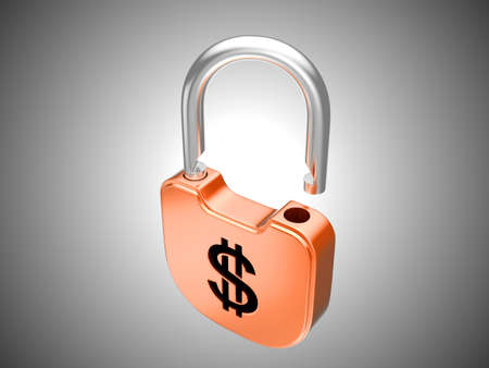 Unlocked lock: US dollar security currency concept. Over grey background Stock Photo - 8862965
