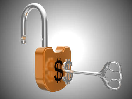 Unlocking the US dollar currency lock. Over grey background Stock Photo - 8862956