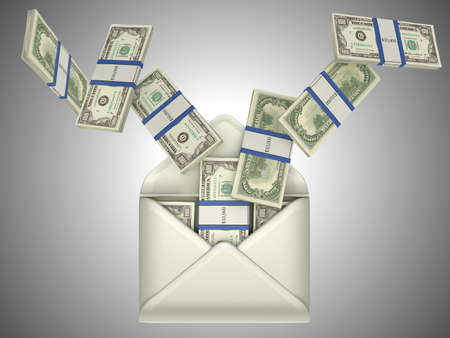 remittance: Earnings and money transfer: US dollars in opened envelope over grey