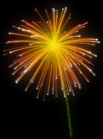 holiday display: Festive orange fireworks at night over black background Stock Photo