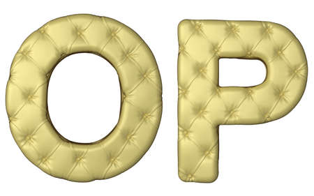 Luxury beige leather font O P letters isolated on white photo
