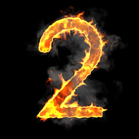 scorch: Burning and flame font 2 numeral over black background Stock Photo