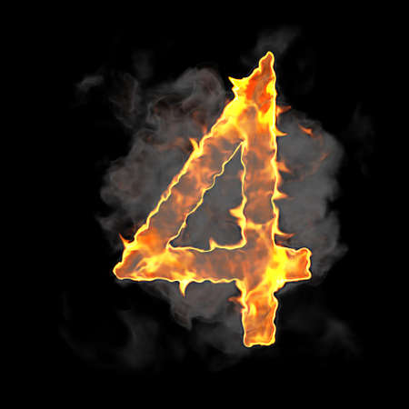 Burning and flame font 4 numeral over black background photo