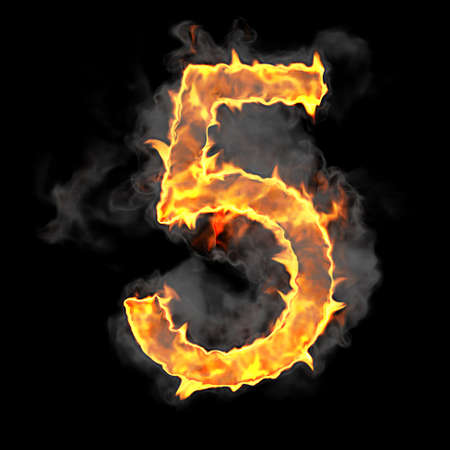 Burning and flame font 5 numeral over black background photo