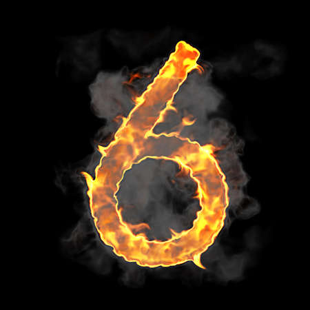 Burning and flame font 6 numeral over black background photo