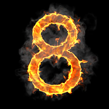 number 8: Burning and flame font 8 numeral over black background