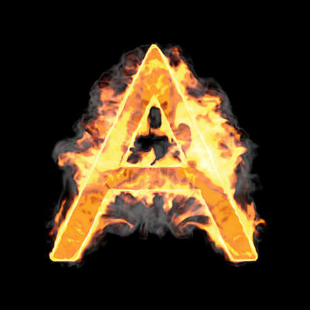 typescript: Burning and flame font A letter over black background Stock Photo