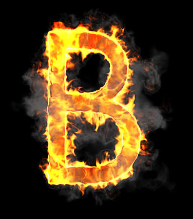 alphabetic character: Burning and flame font B letter over black background