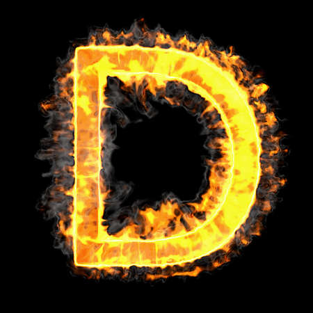 chr: Burning and flame font D letter over black background Stock Photo