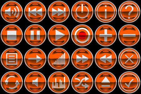 Round orange Control panel icons or buttons isolated on black photo