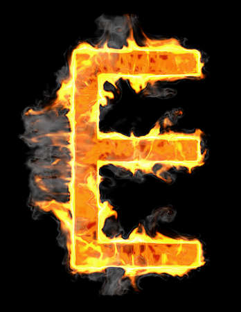 Burning and flame font E letter over black background Stock Photo - 9065630