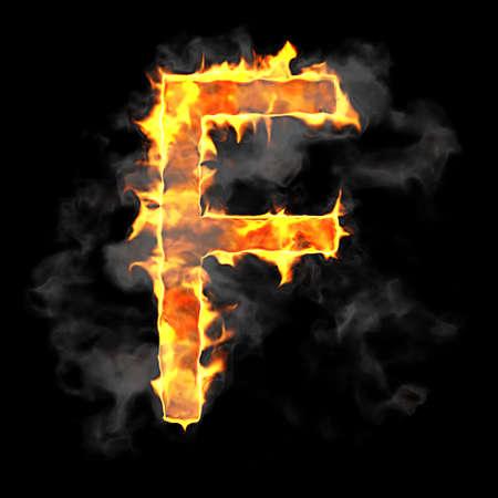 Burning and flame font F letter over black background