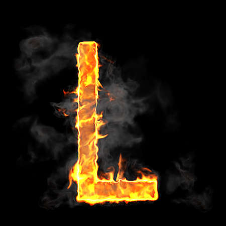 scorch: Burning and flame font L letter over black background