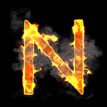 Burning and flame font N letter over black background photo