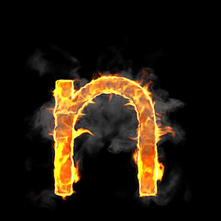 scorch: Burning and flame font N letter over black background