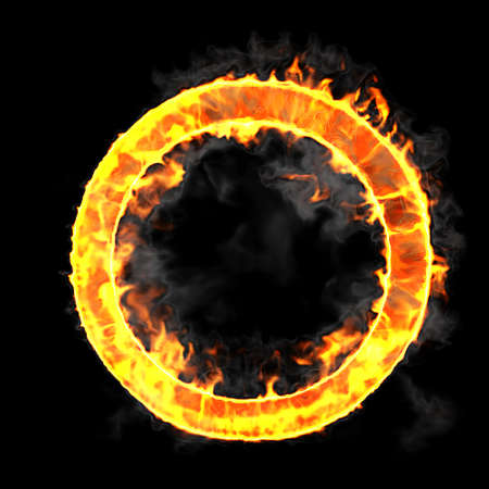 Burning and flame font O letter over black background photo