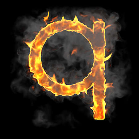 Burning and flame font Q letter over black background Stock Photo - 9065648