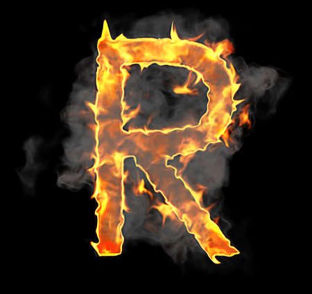 Burning and flame font R letter over black background photo