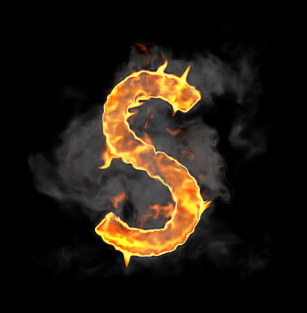 Burning and flame font S letter over black background Stock Photo - 9065593