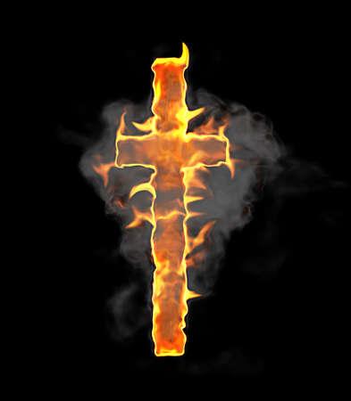 chr: Burning and flame font T letter over black background