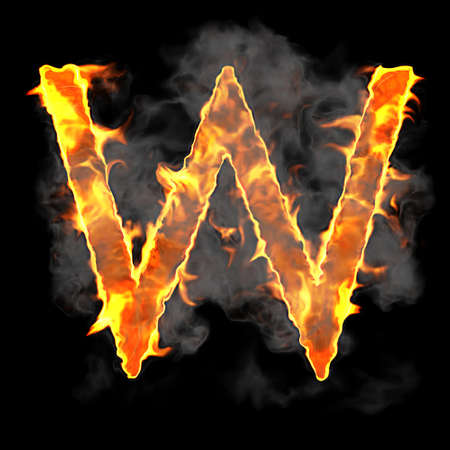 Burning and flame font W letter over black background photo