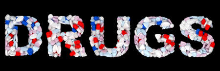 Drugs word: pills and tablets shape isolated over black background Stock Photo - 9065657
