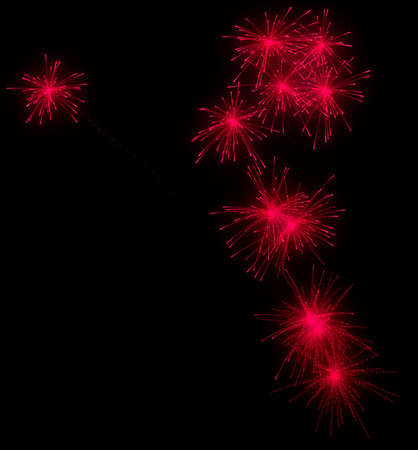 Festive red fireworks at night over black background Stock Photo - 9065659