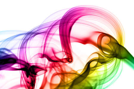 Abstract colorful magic smoke shape over the white background photo