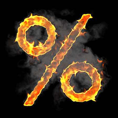 pct: Burning and flame font percent symbol over black background Stock Photo