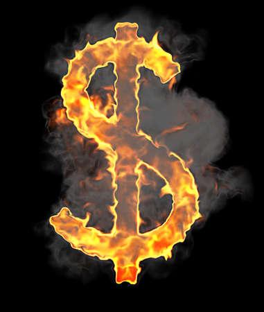 ignite: Burning and flame font US dollar symbol over black background