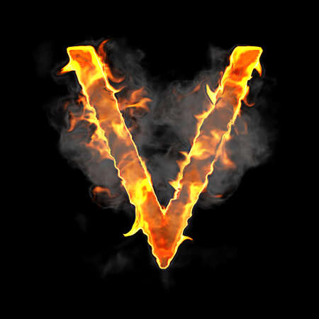 Burning and flame font V letter over black background photo