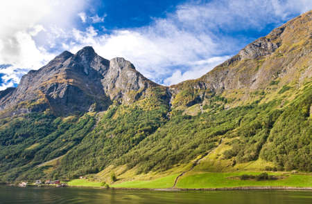 neroyfjord: Fjords in Norway and Scandinavian nature: mountains, trees, rivers