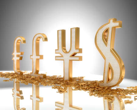 Focus on Dollar. Golden Currency signs with diamonds (shallow DOF)