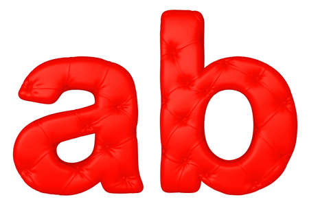 Luxury red leather font A B letters isolated on white photo
