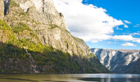 neroyfjord: Sognefjord in Norway: Mountains and blue sky