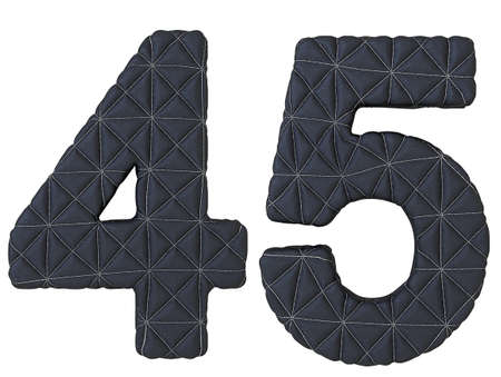 4 5: Stitched leather font 4 5 numerals isolated over white Stock Photo