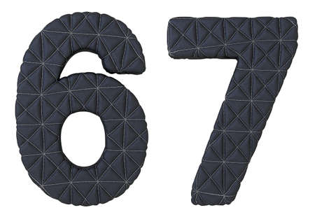 6 7: Stitched leather font 6 7 numerals isolated over white