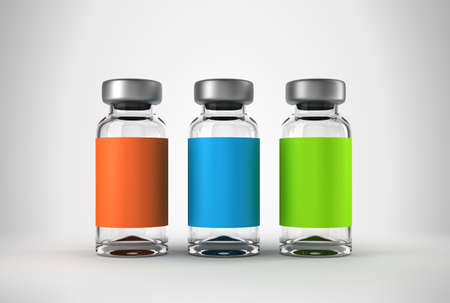 vacuna: Tres m�dicos ampollas con fondo claro studio Foto de archivo