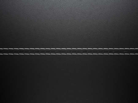 Black horizontal stitched leather background. Large resolution photo
